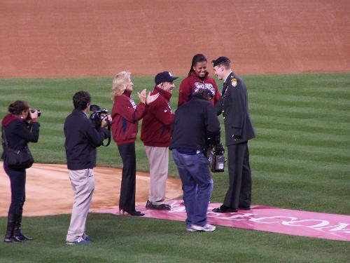 Yogi Berra thru out the first pitch and the first lady was there!