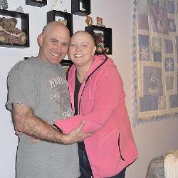 Two beautiful bald heads!!  Phil shaved his entire head to match me.  It love you so much Captain!!
