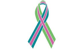 "Because the experience of metastatic disease is so different from that of earlier stages, METAvivor has created a separate ribbon to represent metastatic breast cancer.  Here is a description of the ribbon from the METAvivor website:   ""[In order] to highlight the uniqueness of [metastatic breast cancer] and show its commonality with other stage 4 cancers, METAvivor designed a base ribbon of green and teal to represent metastasis. Green represents the triumph of spring over winter, life over death, and symbolizes renewal, hope, and immortality while teal symbolizes healing and spirituality. The thin pink ribbon overlay signifies that the metastatic cancer originated in the breast."""