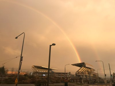 Emerging from an ultrasound at UWMC, a double rainbow appears over campus!