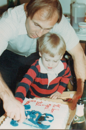 John & Neil, celebrating Neil's adoption/name-change--February 1980