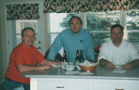 Merrill Faculty gathering at Beth's house--Brent Page, John, Steve Erickson
