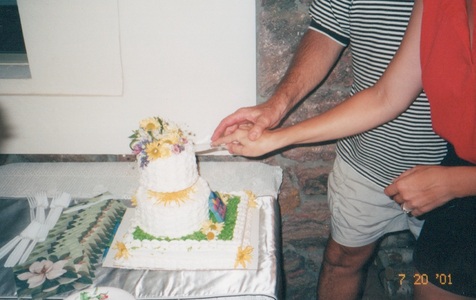 The combination Wedding/Birthday cake--Tucson, July 2001