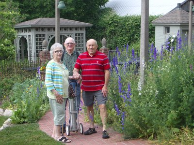 Juanita, Deak, John at the bed & breakfast in Rocheport, May 2015