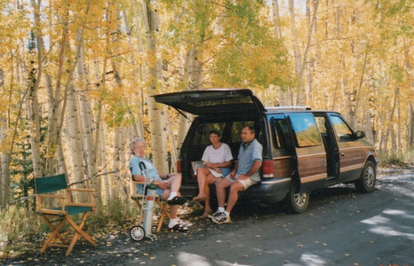 "North of Clark, September 2001--""tailgating"" with Deak & Juanita while we enjoyed the fall colors in the mountains"