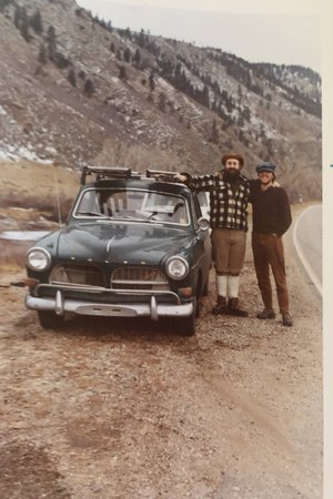Ned & John, when Ned's Volvo turned 100,000 miles going over Cameron Pass, December 1972