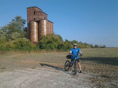 John riding a section of the Katy Trail near Rocheport, October 2013