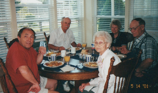 Mother's Day in Denver--John, Lee (Hubert & Mary Alice's son), Mary Alice, Pat (Lee's wife), Hubert--May 2001