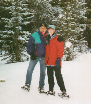 Our wedding day, March 26, 2001--Snowshoeing in to Tennessee Pass Cookhouse for dinner