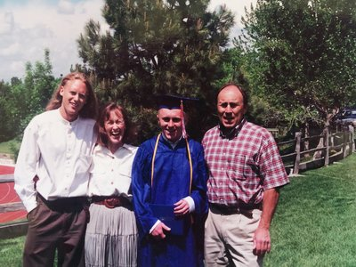 Ian's graduation from Cherry Creek High School--Neil, Cynthia, Ian, John--1998