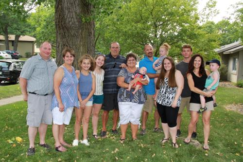 Family photo from Jaycee's graduation party