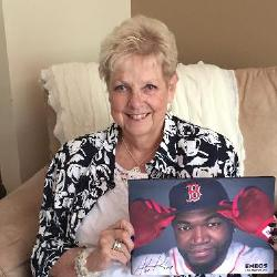 Cousin Colleen sent this autographed canvas of David Ortiz, knowing Crazy refers to him as her Baby Boy. Yes, Jay, we all know you are her real Baby Boy.