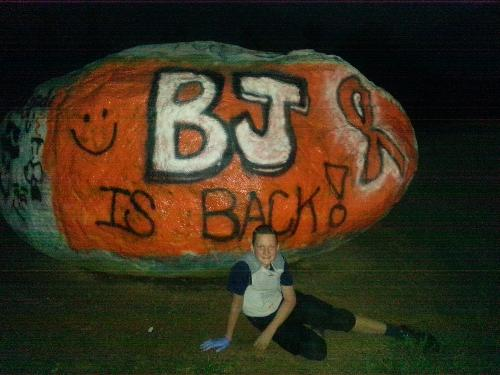 BJ is BACK!  Spirit Rock at NLMS...painted after football practice. Aug 23, 2013.