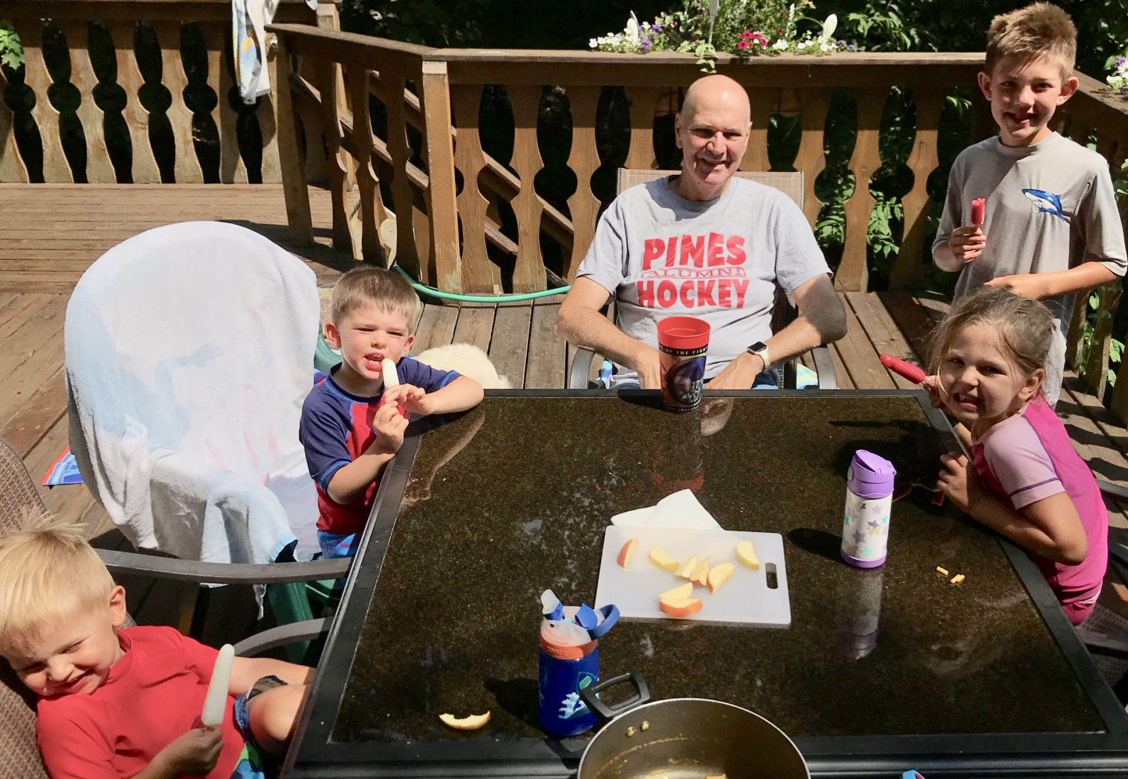 picnic lunches bring smiles and popsicles: Sawyer, Colden, Papa,