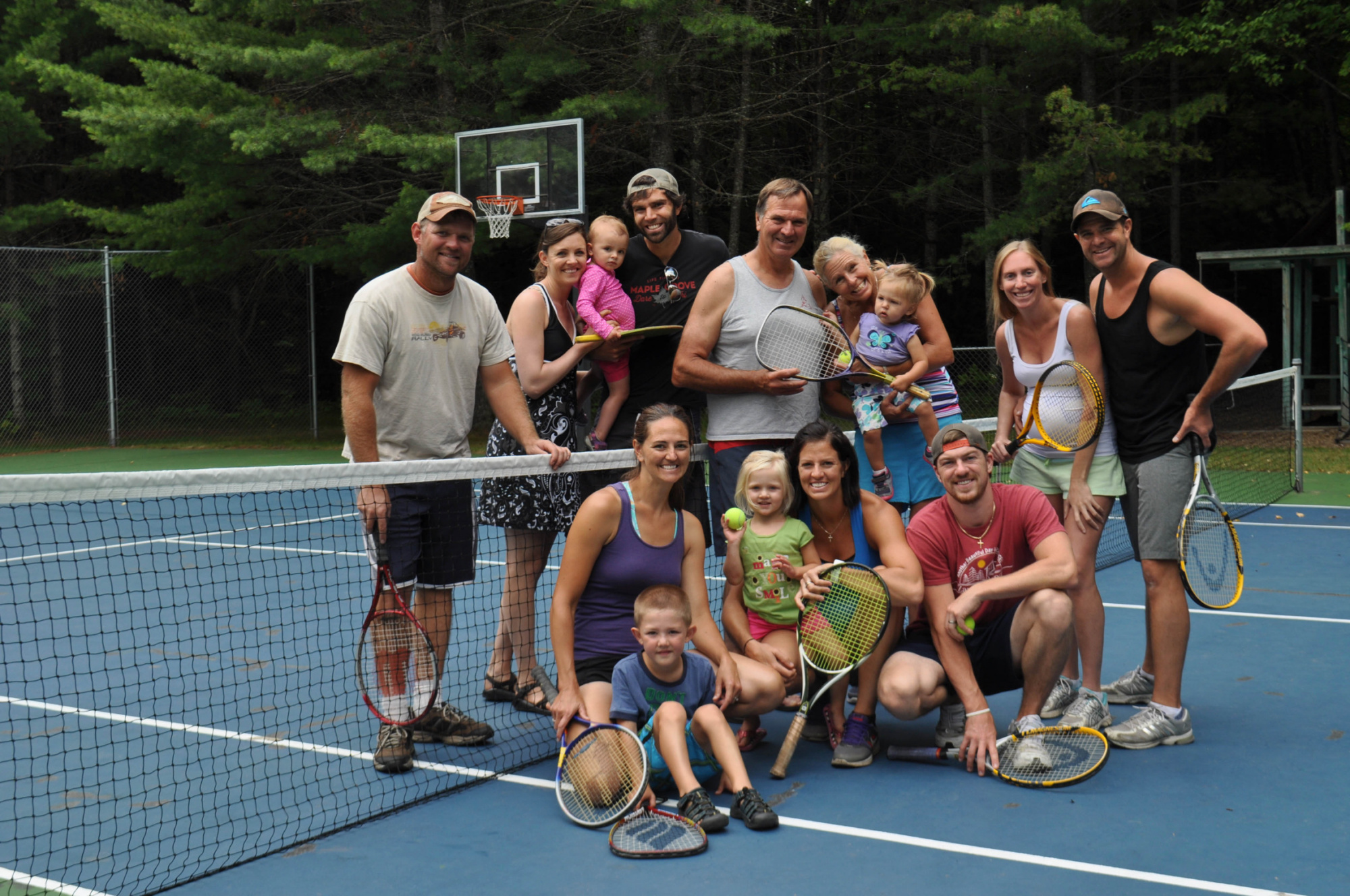 Family tennis, tennis with the tennis club, and teaching grandkids tennis kept competition fun
