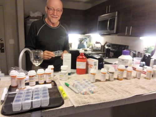 Day One at home:  Sorting medications and testing materials