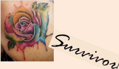So I'm thinking about another tattoo...on the inside of my arm...something like this but making the O be a breast cancer ribbon. Not really big-maybe 3 inches long.
