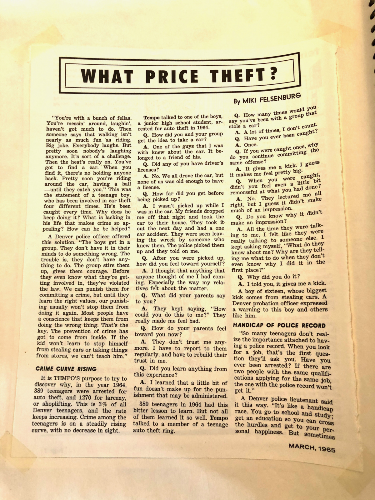 PAGE ONE of WHAT PRICE THEFT article