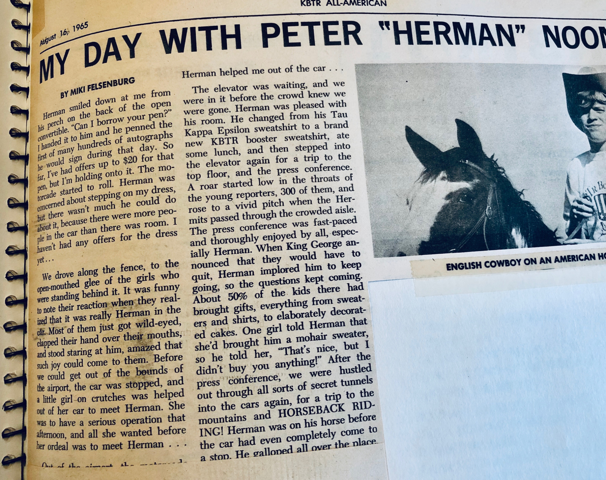 PAGE ONE of HERMAN'S HERMITS article