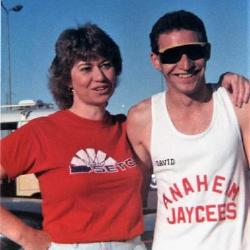 Mom and David on opposite teams for the Anaheim Corporate Challenge  -  March 1988