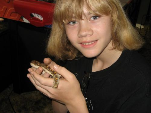 Keaton with Sandy, his Kenyan sand boa March 2007