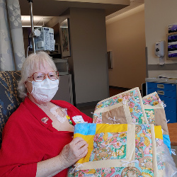 3/5/21:  1st infusion day - selected a beautiful bright & flowery hand-made quilt from the Cabin Fever Quilters donations to the cancer patients at Jefferson Healthcare. Made my day!!