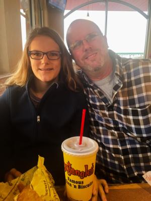 A little bojangles with her dad before heading off to school and UNC!