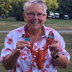 The Lobster Lady.  64 bday in Bar Harbor Maine.