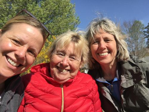 3/28/16, Pam, Sandra, Paige - behind the Forsythia that she loves :)