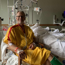 MON SEP 21:  Sitting beside the bed 24 hours after the stroke.  Hard to believe!