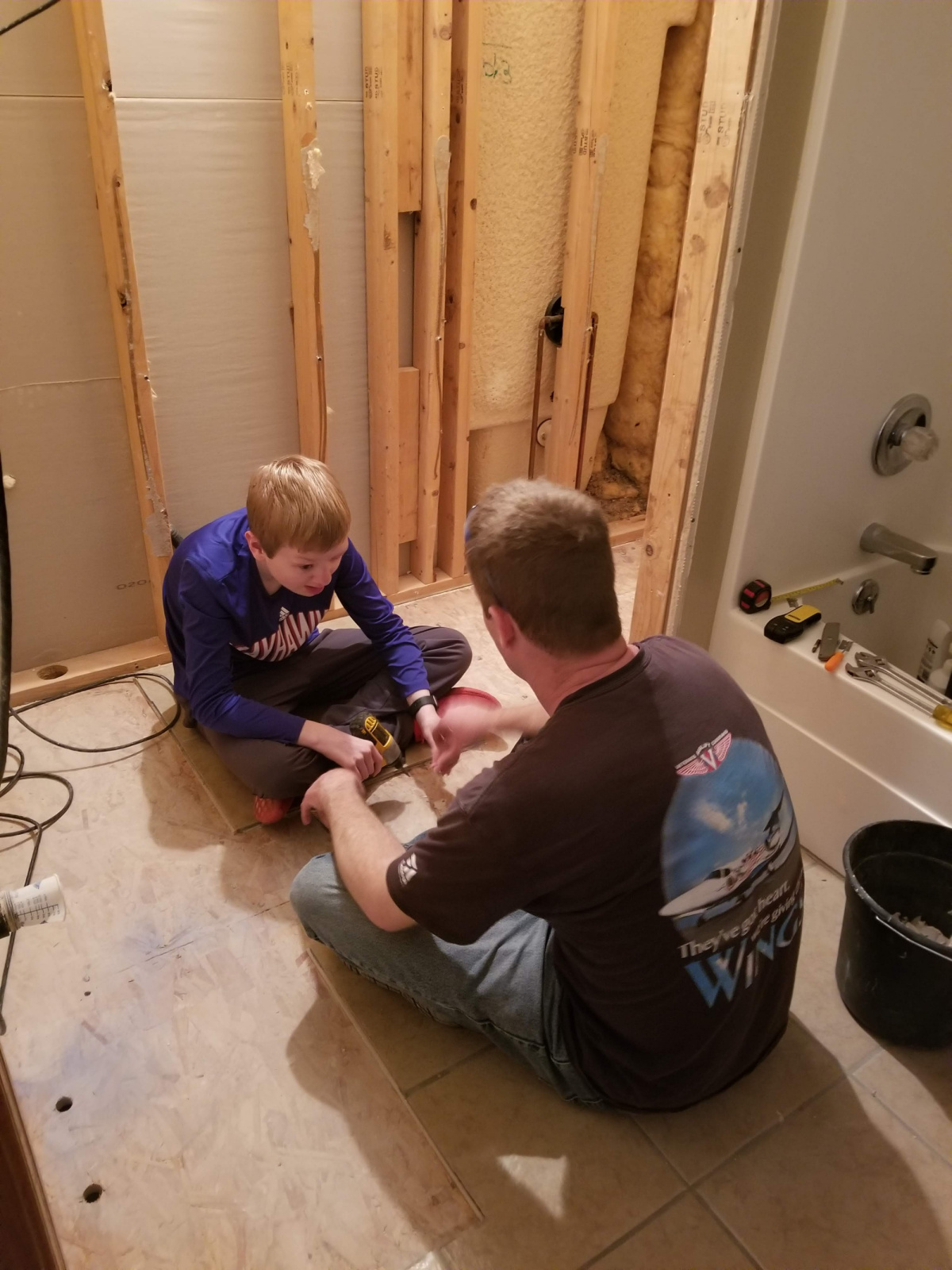 Helping Dad with the bathroom remodel.