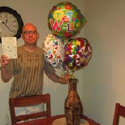 This was between rounds 2-3 of chemo after my 2nd round of chemo when I started getting really sick.  Awesome Patty instigated some card rotation at work and mom came thru the hospital with a big thing of ballons. You ALL were instrumental in helping me fight this disease. Without you all giving me hope when I lacked it the most my body would not have been able to put up such a fight. Thank you for your support.  I want to thank each and every one of you and tell you how much your kindness meant to me. I have been medically cleared to return to my life  :<). With a whole new sense of enjoying the little things in life.