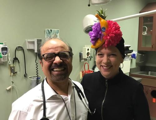 "With Medical Oncologist Joginder Singh. He is such a gifted physician that he makes me feel like my case is his only priority. AND he is a ""Jolly Mon"" so I have donned a Caribbean hat in his honor. As Jimmy Buffet would say, ""When life hands you limes, make margaritas.""  Yes, let's! 