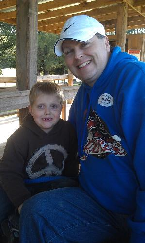 Daddy and Carson at Cedar Hills Farm.