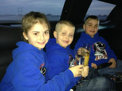 Toasting in the limo on the way to Chicago!