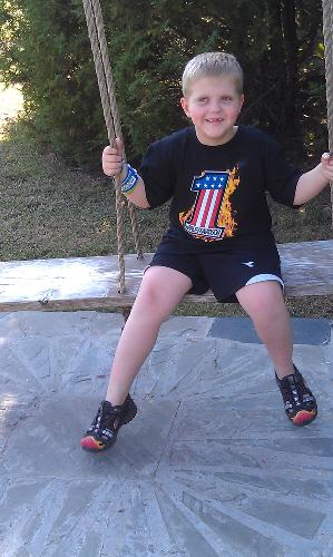 Sporting his first Harley shirt...a gift from the St. Jude riders!
