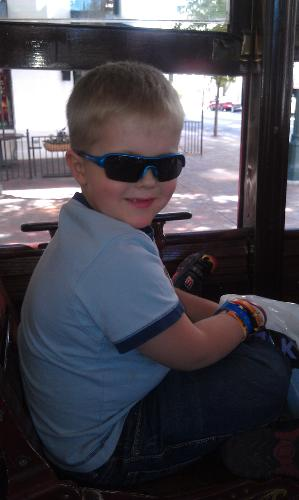 Riding the trolley downtown.
