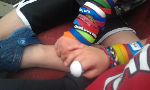 Riley and Carson's bracelet collection.