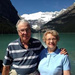 Chuck and Joan on their 60th wedding anniversary train travel across Canada in 2017.
