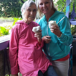 Cat and Amy in Maui 2018, with Haleakala creamy shave ice.