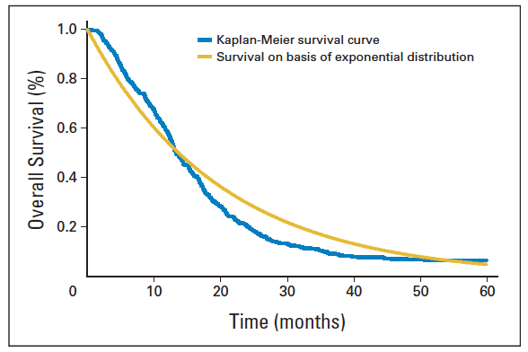 Kaplan Meier curve showing survival expectations for those with glioblastoma
