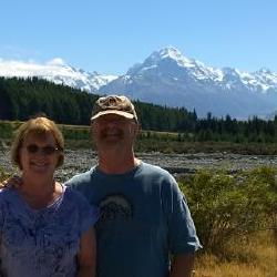 Feb. 26, 2015 South Island, New Zealand. Mt. Cook in background; we caught it on a rare clear day. Highest point in New Zealand. Photo taken by random travelers from Ohio!