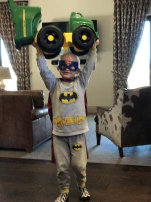 Batman/ super man showing his strength!!!