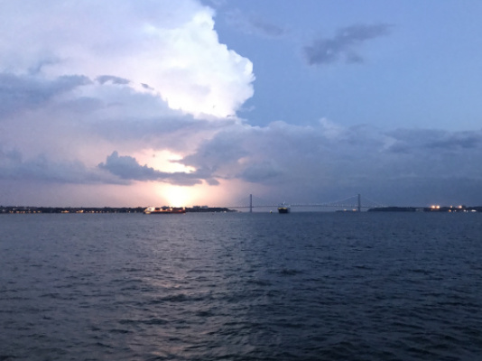 Saw a lot of God's beautiful creation while on the ferry (the bright spot is actually lightning)