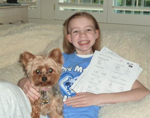 "Madeleine and her 5th Grade Math Tests 93%!  She danced around and sang ""I proved my teachers wrong!"""