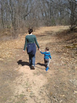 Danielle hiking with son