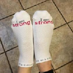 "My word for 2018 is ""strong"".  My dear friend, Ann Weber, gave me these ""cool"" socks  as a reminder when things get tough."