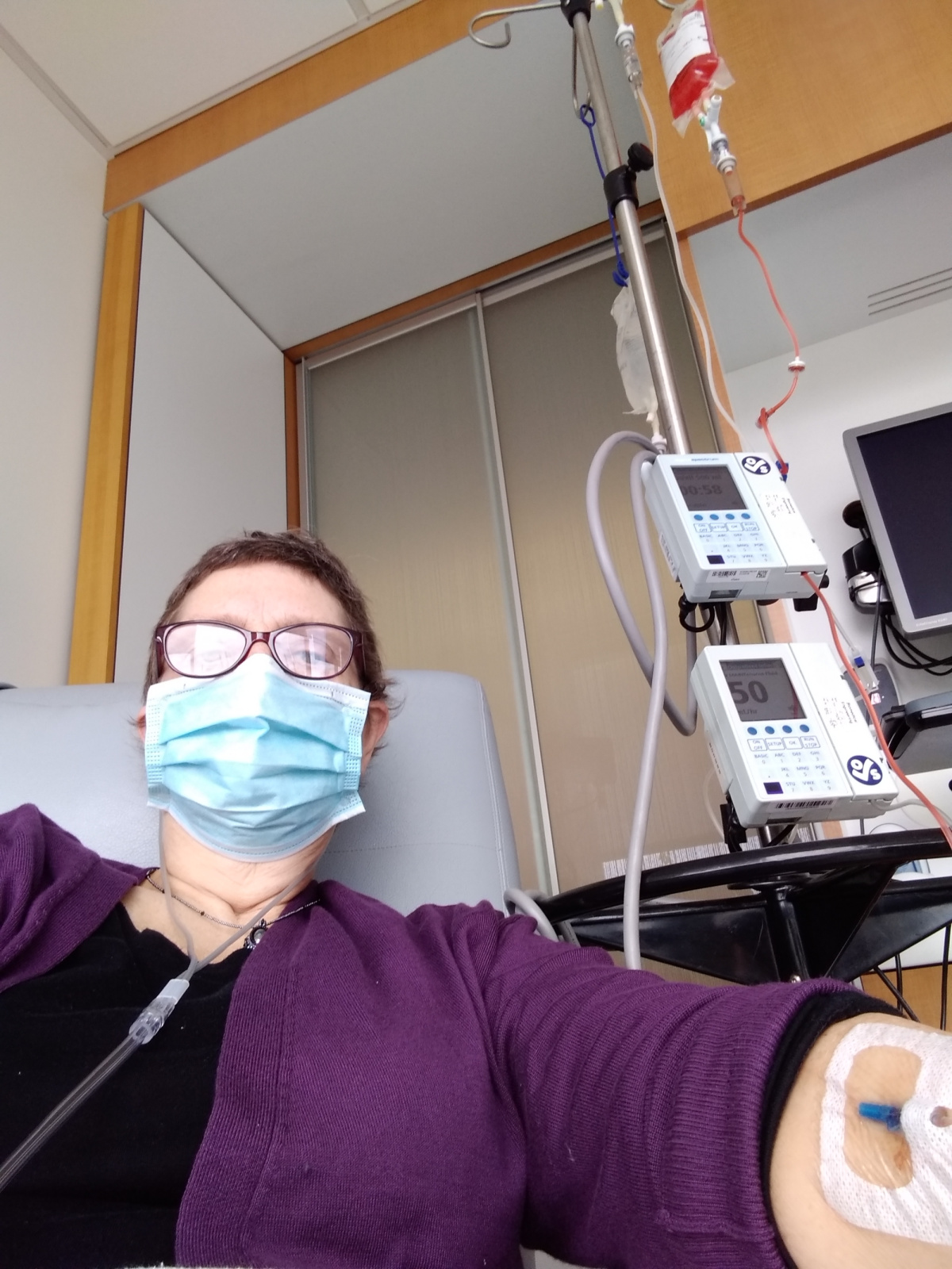 Receiving chemo all by myself in the infusion center.