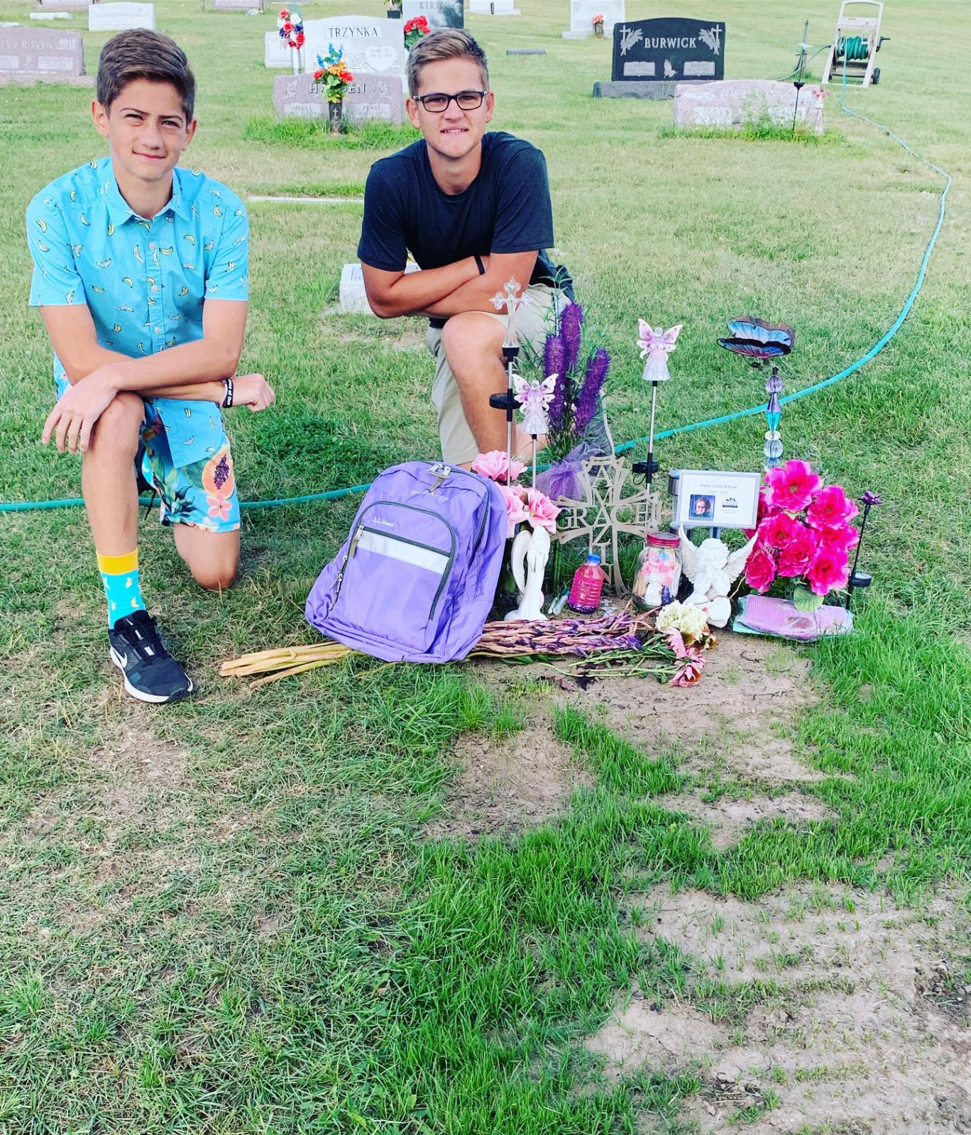 Grant and Owen at Grace's Gravesite the morning of the 1st day of school