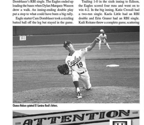 Chance got back on the mound in a game for the first time on Saturday, less than two months after his accident. (Photo courtesy of this week's edition of the El Segundo Herald newspaper.)